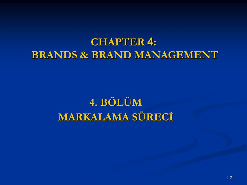 CHAPTER 4: BRANDS & BRAND MANAGEMENT