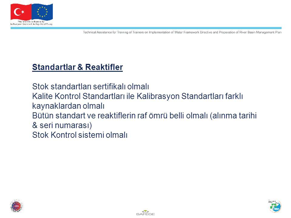 Standartlar & Reaktifler Stok standartları sertifikalı olmalı Kalite Kontrol Standartları ile Kalibrasyon Standartları farklı kaynaklardan olmalı Bütün standart ve reaktiflerin raf ömrü belli olmalı (alınma tarihi & seri numarası) Stok Kontrol sistemi olmalı