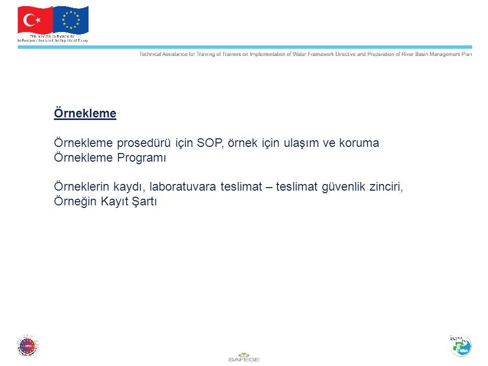 Örnekleme Örnekleme prosedürü için SOP, örnek için ulaşım ve koruma Örnekleme Programı Örneklerin kaydı, laboratuvara teslimat – teslimat güvenlik zinciri, Örneğin Kayıt Şartı