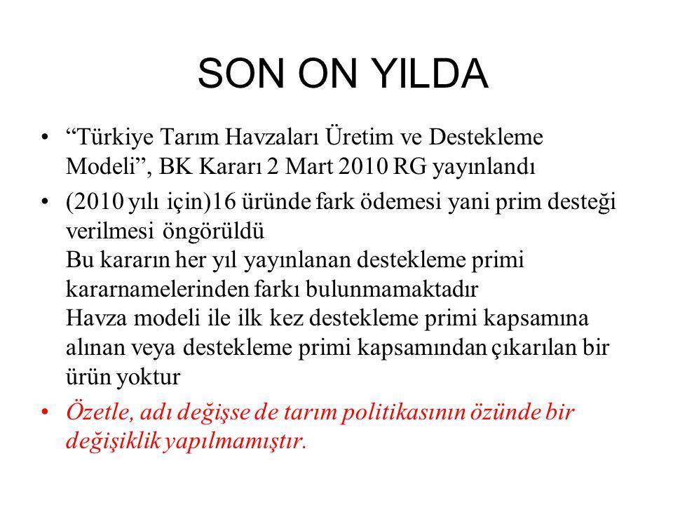 SON ON YILDA Türkiye Tarım Havzaları Üretim ve Destekleme Modeli , BK Kararı 2 Mart 2010 RG yayınlandı.