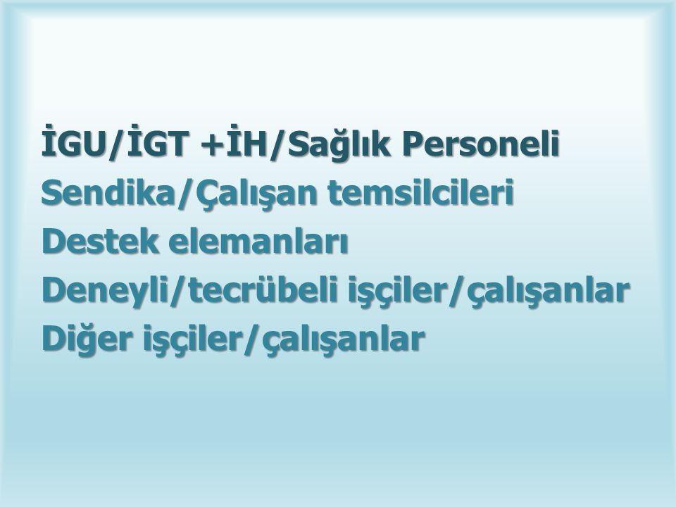İGU/İGT +İH/Sağlık Personeli Sendika/Çalışan temsilcileri