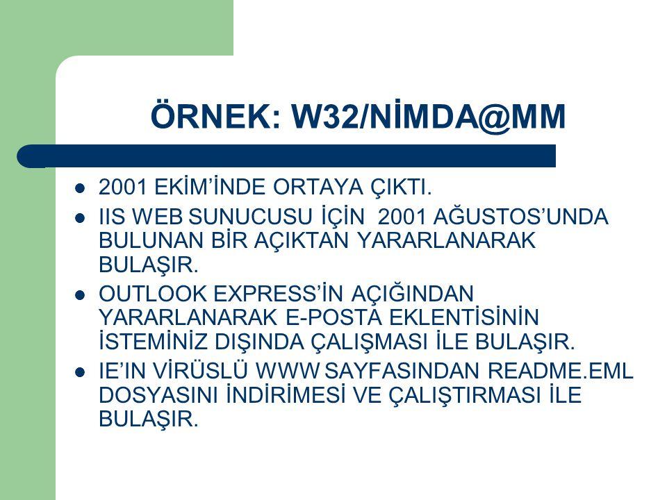 ÖRNEK: W32/NİMDA@MM 2001 EKİM'İNDE ORTAYA ÇIKTI.