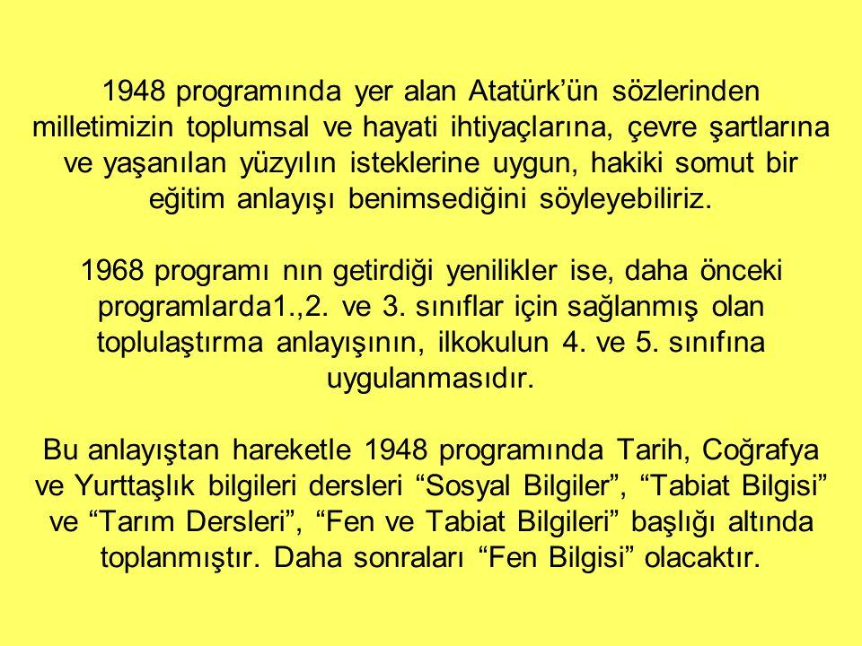 1948 programında yer alan Atatürk'ün sözlerinden milletimizin toplumsal ve hayati ihtiyaçlarına, çevre şartlarına ve yaşanılan yüzyılın isteklerine uygun, hakiki somut bir eğitim anlayışı benimsediğini söyleyebiliriz.