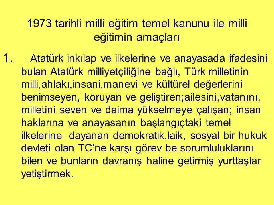 1973 tarihli milli eğitim temel kanunu ile milli eğitimin amaçları