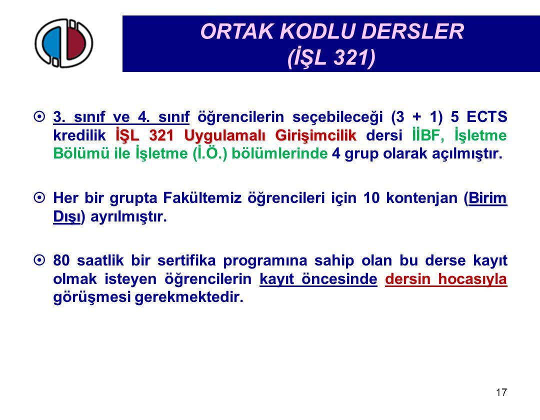 ORTAK KODLU DERSLER (İŞL 321)