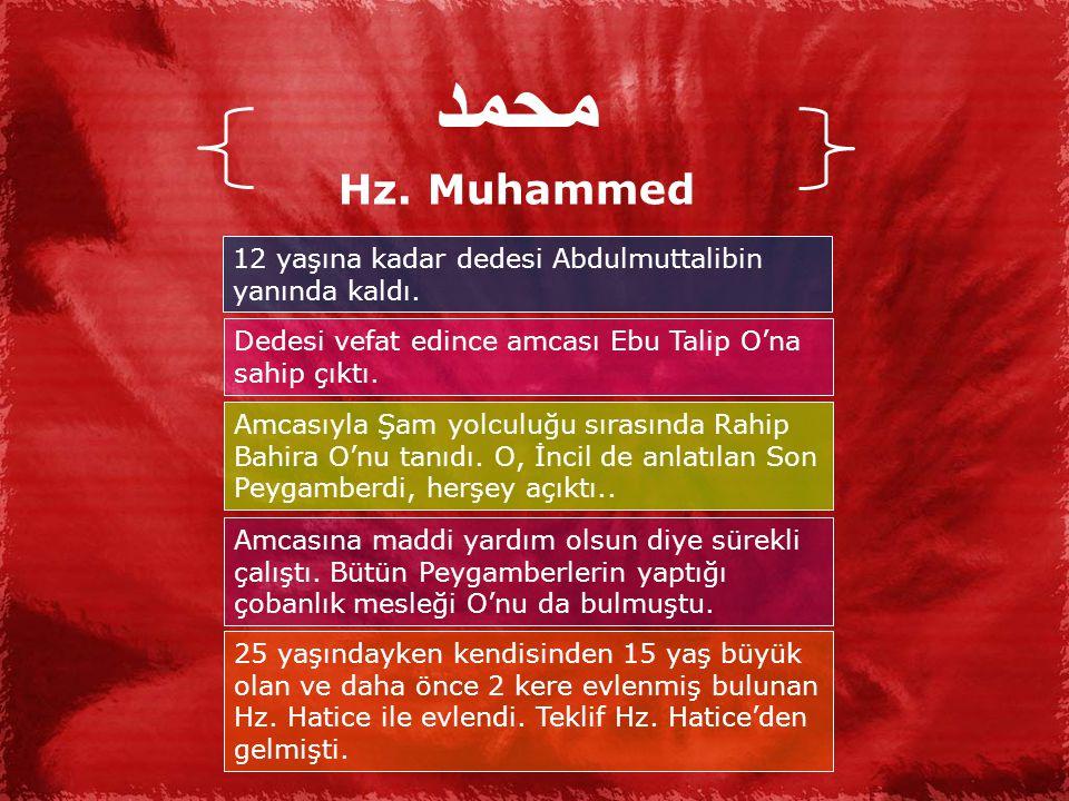 محمد Hz. Muhammed. 12 yaşına kadar dedesi Abdulmuttalibin yanında kaldı. Dedesi vefat edince amcası Ebu Talip O'na sahip çıktı.