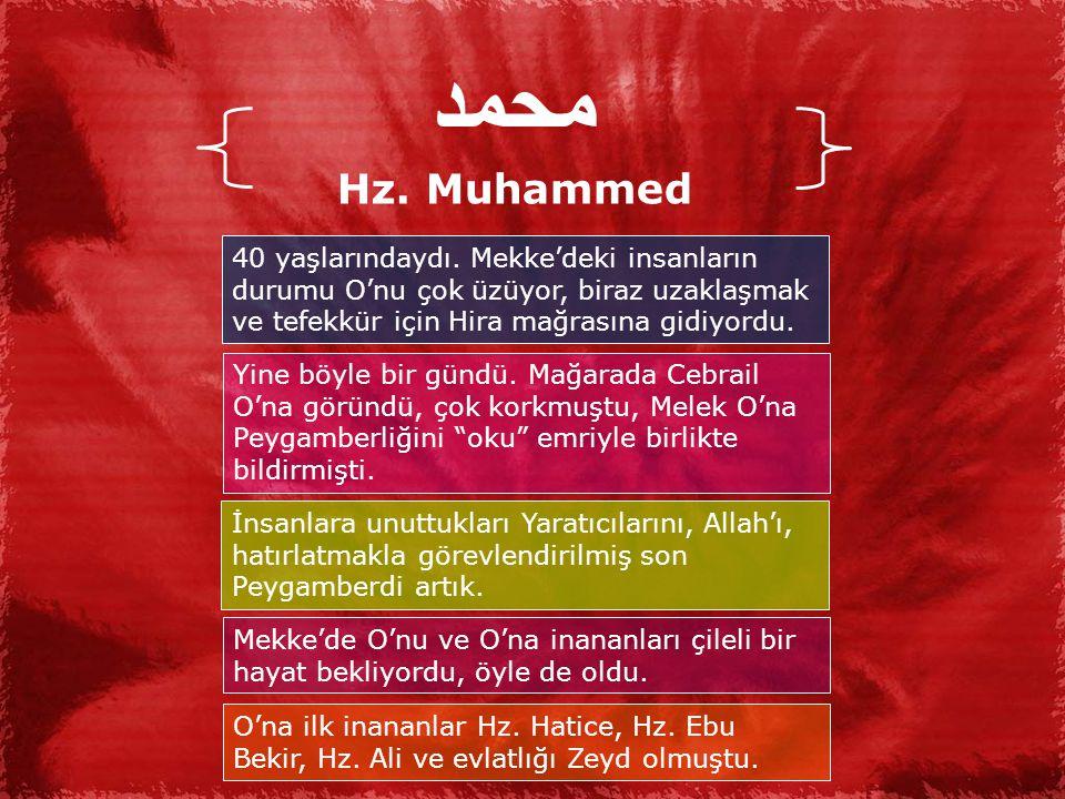 محمد Hz. Muhammed. 40 yaşlarındaydı. Mekke'deki insanların durumu O'nu çok üzüyor, biraz uzaklaşmak ve tefekkür için Hira mağrasına gidiyordu.