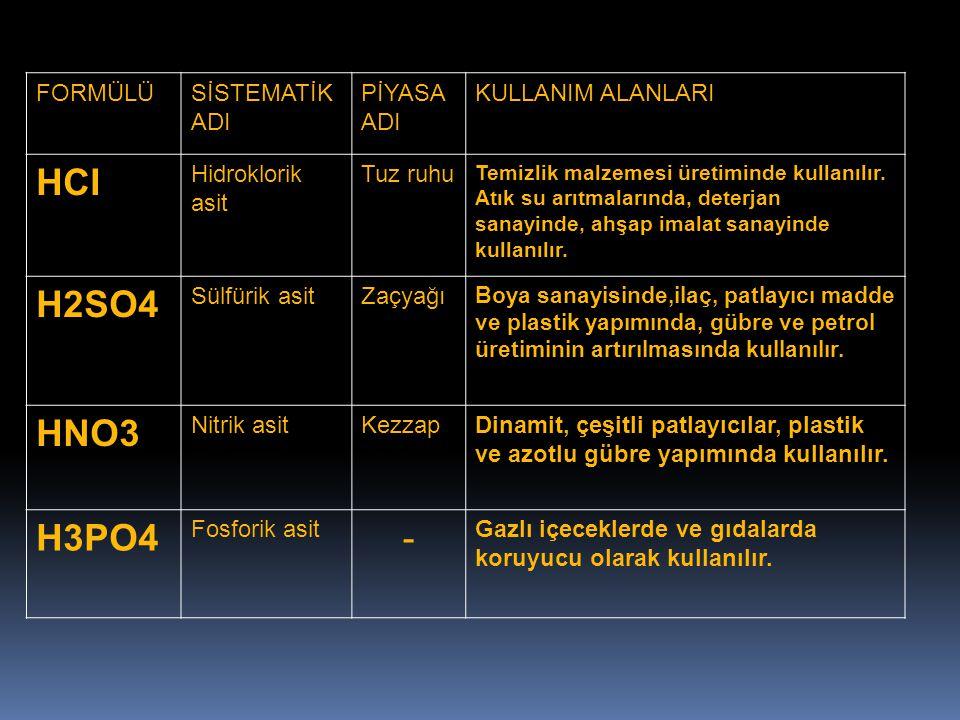 HCI H2SO4 HNO3 H3PO4 - FORMÜLÜ SİSTEMATİK ADI PİYASA ADI