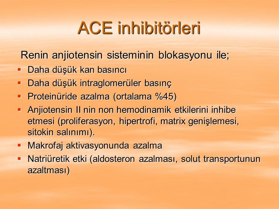 ACE inhibitörleri Renin anjiotensin sisteminin blokasyonu ile;