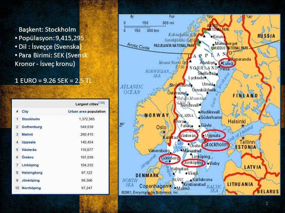 Başkent: Stockholm Popülasyon: 9,415,295. Dil : İsveççe (Svenska) Para Birimi: SEK (Svensk Kronor - İsveç kronu)