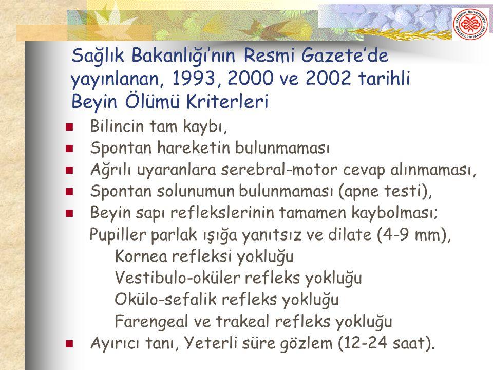 Sağlık Bakanlığı'nın Resmi Gazete'de yayınlanan, 1993, 2000 ve 2002 tarihli Beyin Ölümü Kriterleri