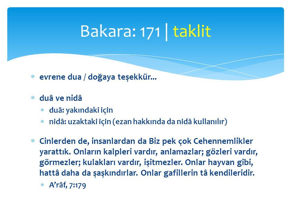 Bakara: 171 | taklit evrene dua / doğaya teşekkür... duâ ve nidâ