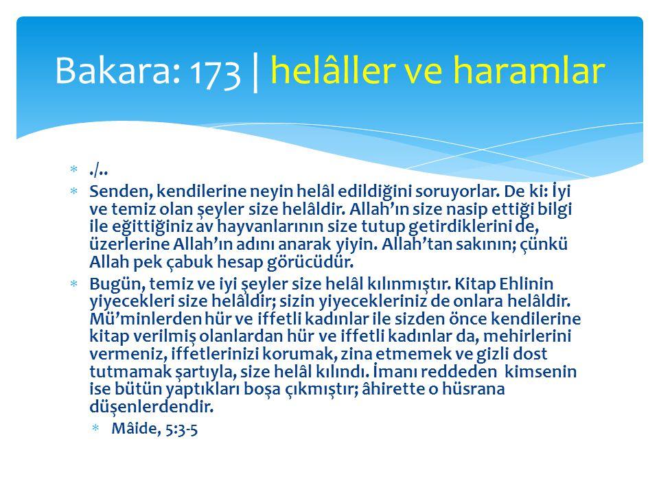 Bakara: 173 | helâller ve haramlar