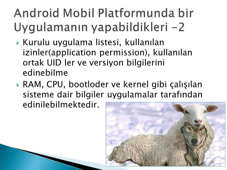 Android Mobil Platformunda bir Uygulamanın yapabildikleri -2