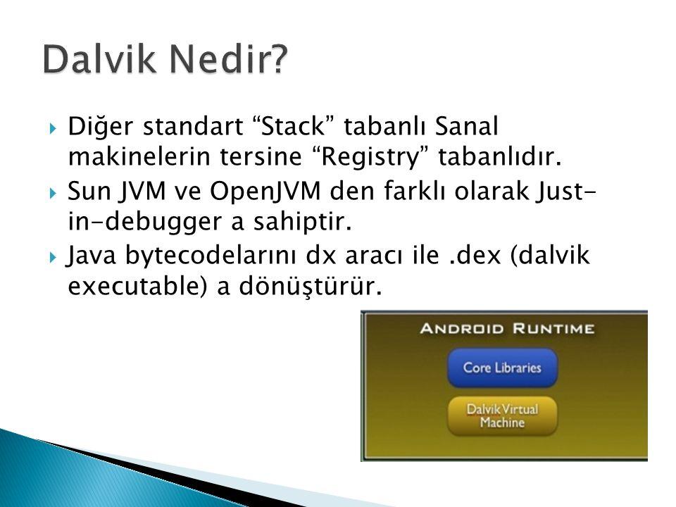 Dalvik Nedir Diğer standart Stack tabanlı Sanal makinelerin tersine Registry tabanlıdır.