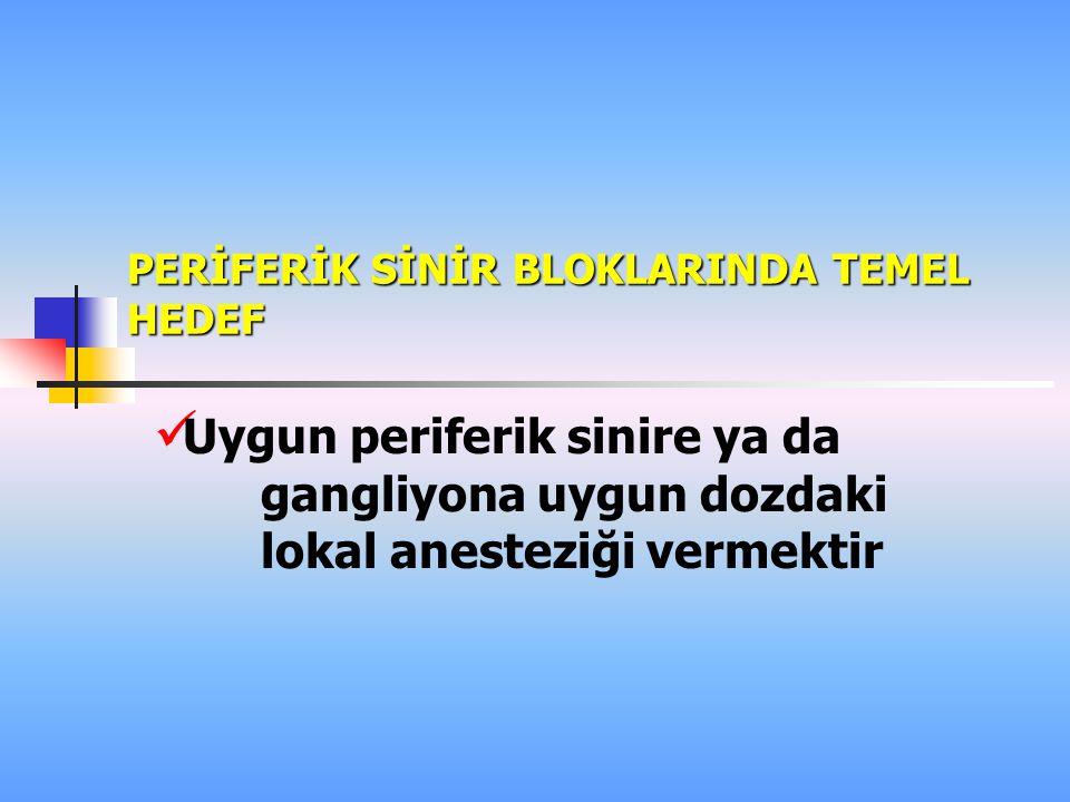 PERİFERİK SİNİR BLOKLARINDA TEMEL HEDEF