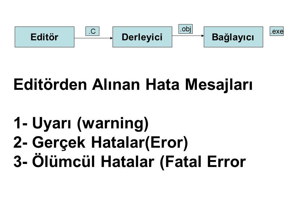 Editörden Alınan Hata Mesajları 1- Uyarı (warning)
