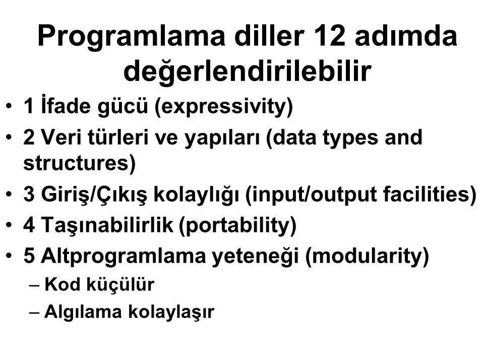 Programlama diller 12 adımda değerlendirilebilir