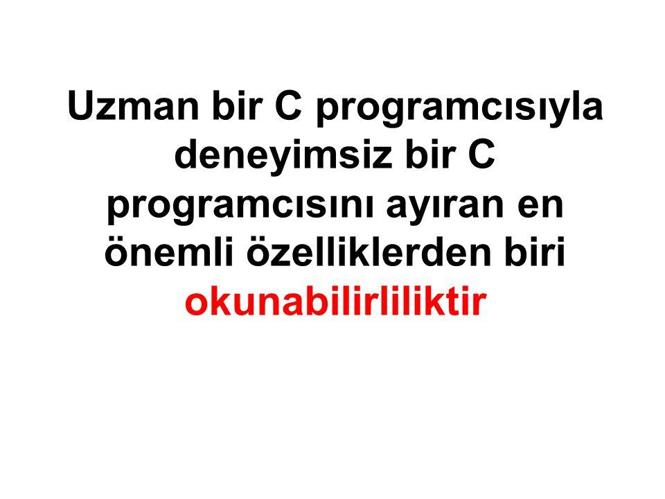 Uzman bir C programcısıyla deneyimsiz bir C programcısını ayıran en önemli özelliklerden biri okunabilirliliktir