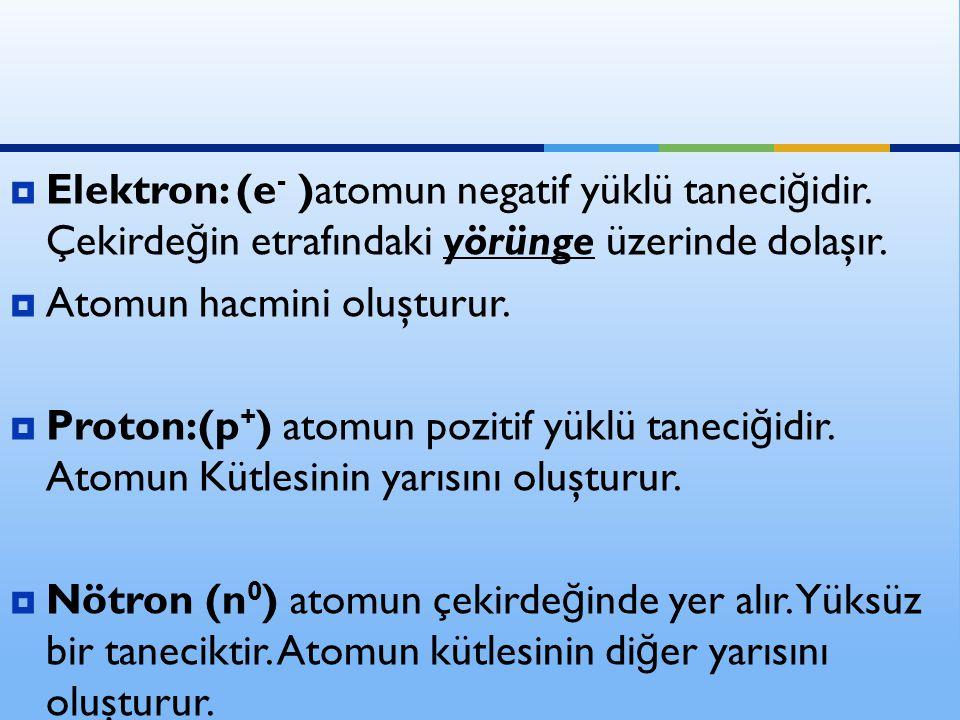 Elektron: (e- )atomun negatif yüklü taneciğidir