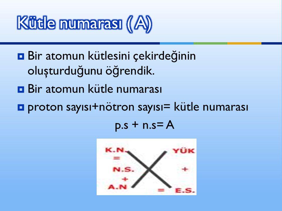 Kütle numarası ( A) Bir atomun kütlesini çekirdeğinin oluşturduğunu öğrendik. Bir atomun kütle numarası.