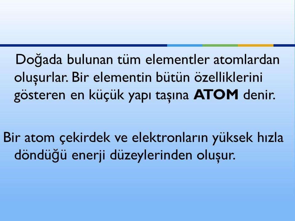 Doğada bulunan tüm elementler atomlardan oluşurlar