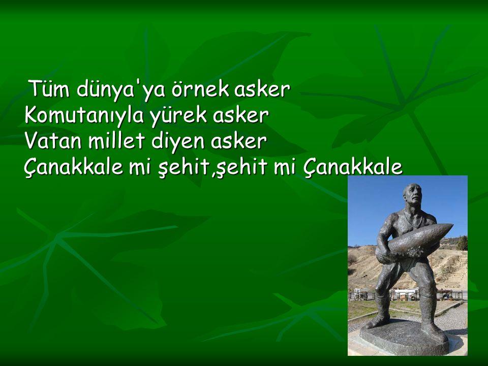 Tüm dünya ya örnek asker Komutanıyla yürek asker Vatan millet diyen asker Çanakkale mi şehit,şehit mi Çanakkale