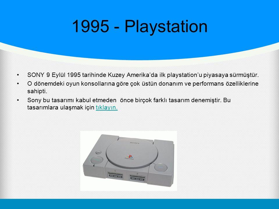 1995 - Playstation SONY 9 Eylül 1995 tarihinde Kuzey Amerika'da ilk playstation'u piyasaya sürmüştür.