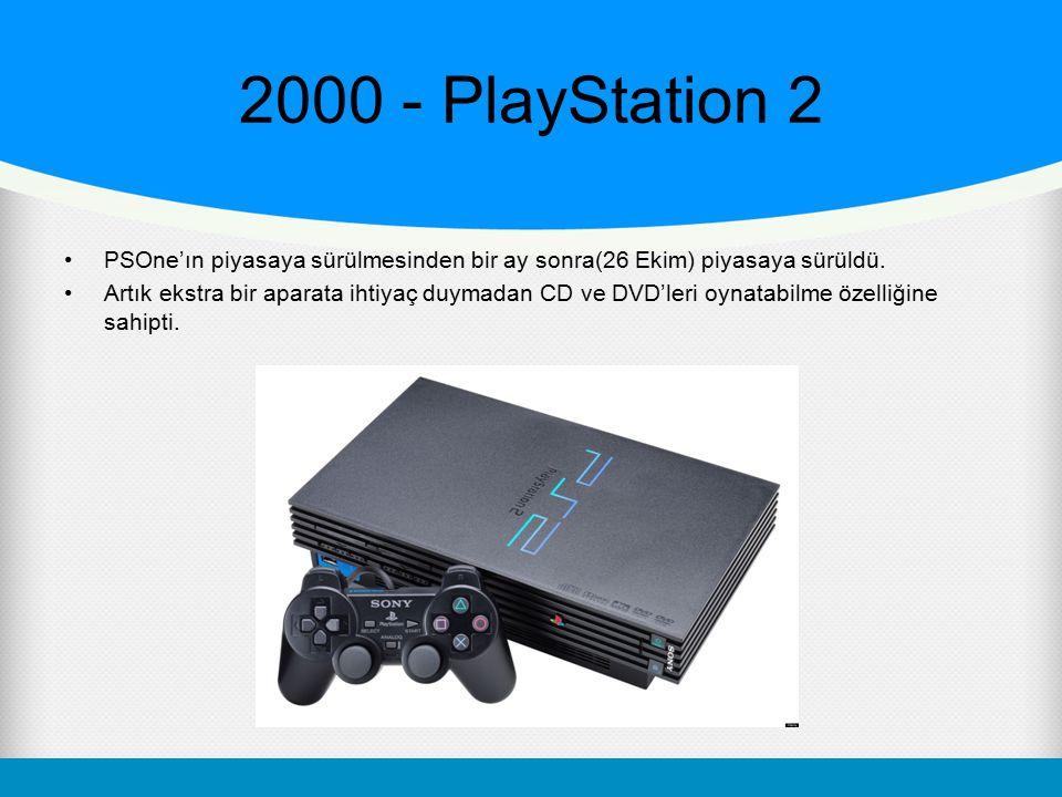 2000 - PlayStation 2 PSOne'ın piyasaya sürülmesinden bir ay sonra(26 Ekim) piyasaya sürüldü.