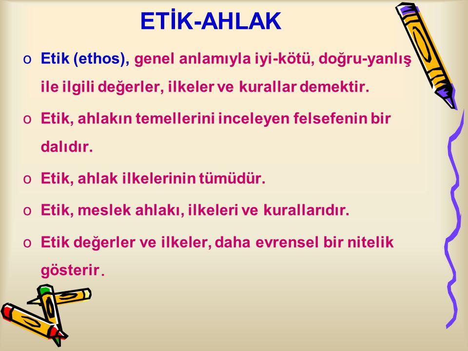 ETİK-AHLAK Etik (ethos), genel anlamıyla iyi-kötü, doğru-yanlış ile ilgili değerler, ilkeler ve kurallar demektir.
