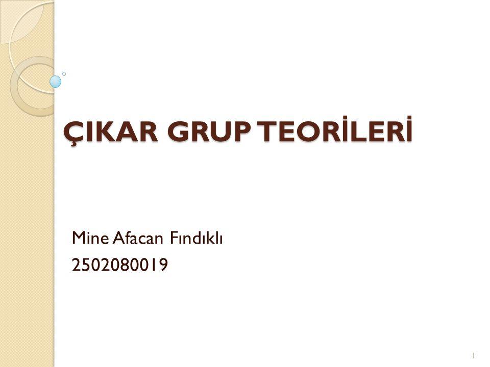 ÇIKAR GRUP TEORİLERİ Mine Afacan Fındıklı 2502080019