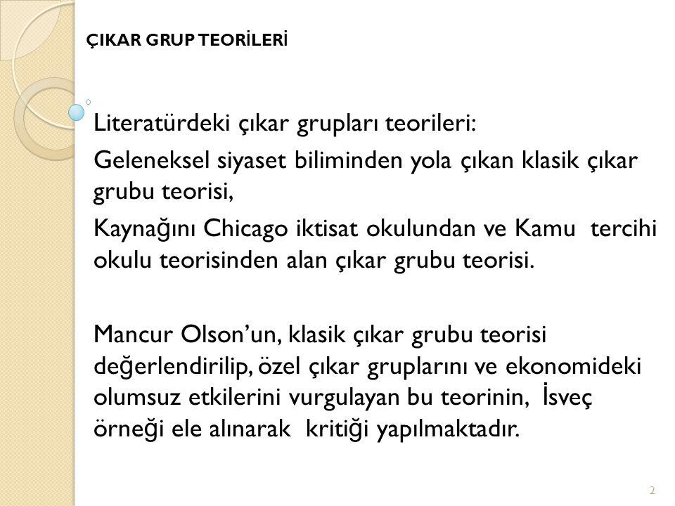 Literatürdeki çıkar grupları teorileri: