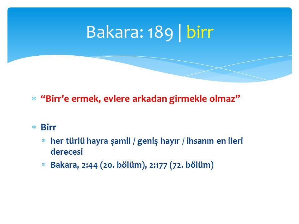 Bakara: 189 | birr Birr'e ermek, evlere arkadan girmekle olmaz Birr