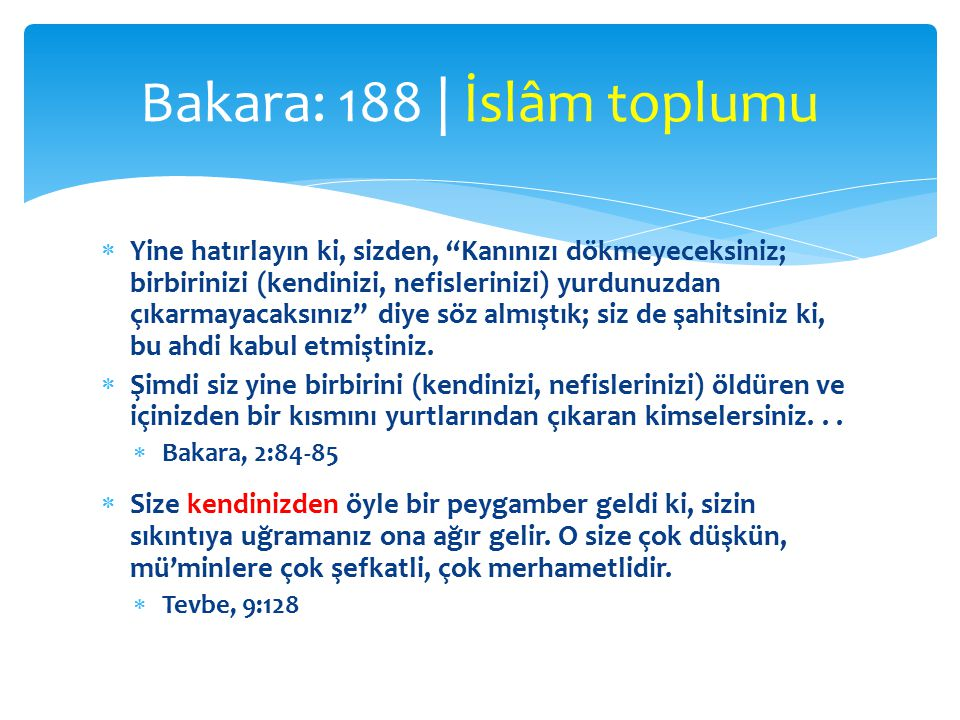 Bakara: 188 | İslâm toplumu