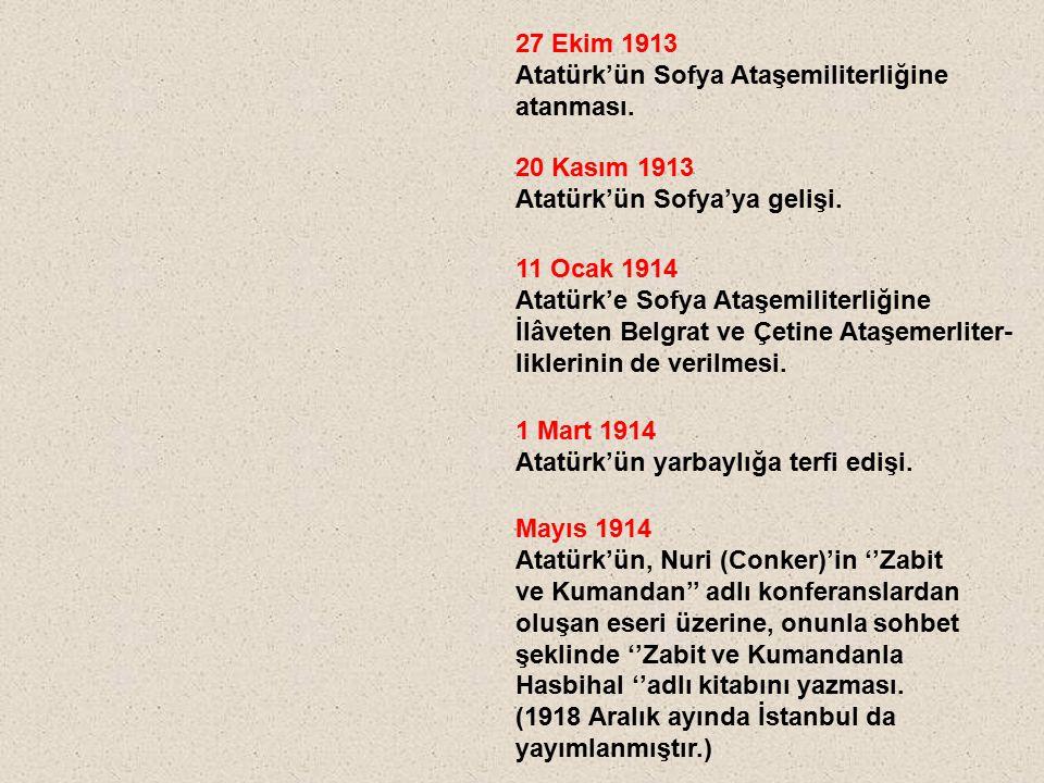 27 Ekim 1913 Atatürk'ün Sofya Ataşemiliterliğine. atanması. 20 Kasım 1913. Atatürk'ün Sofya'ya gelişi.