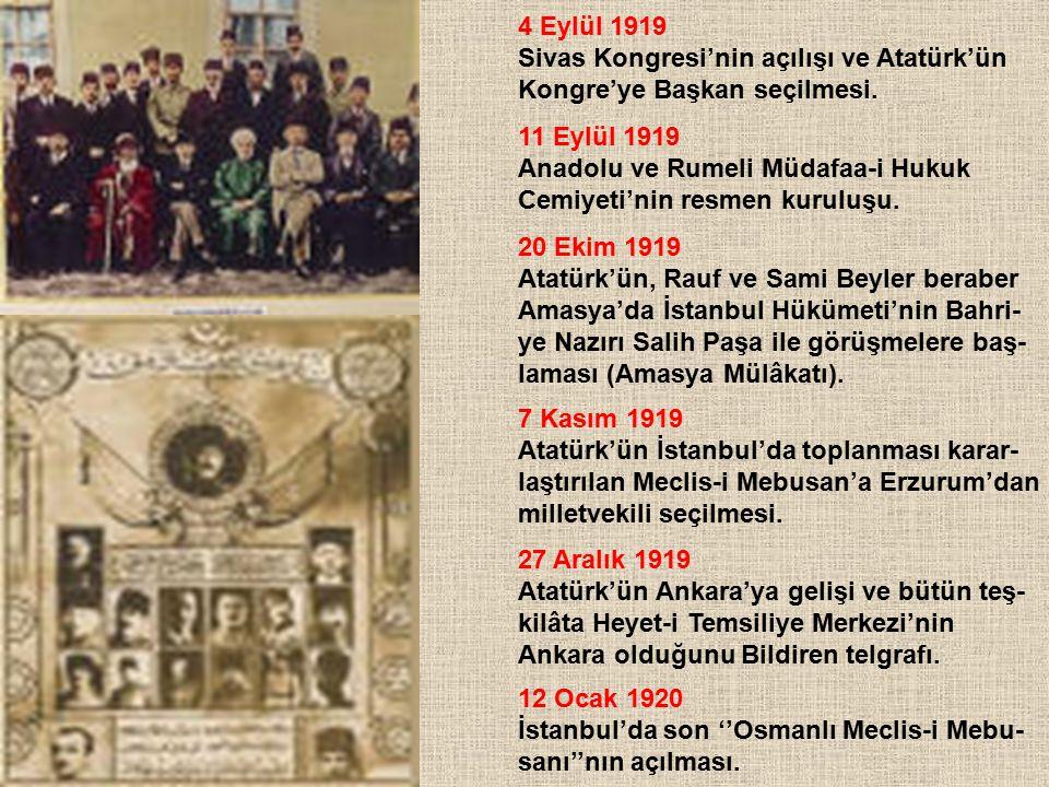 4 Eylül 1919 Sivas Kongresi'nin açılışı ve Atatürk'ün. Kongre'ye Başkan seçilmesi. 11 Eylül 1919.