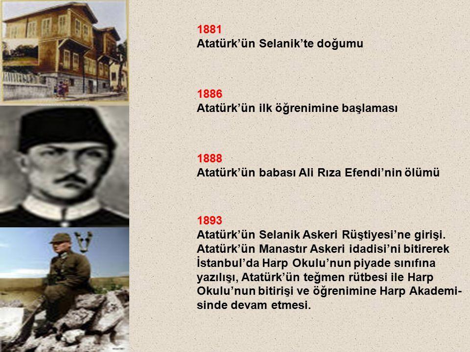 1881 Atatürk'ün Selanik'te doğumu. 1886. Atatürk'ün ilk öğrenimine başlaması. 1888. Atatürk'ün babası Ali Rıza Efendi'nin ölümü.