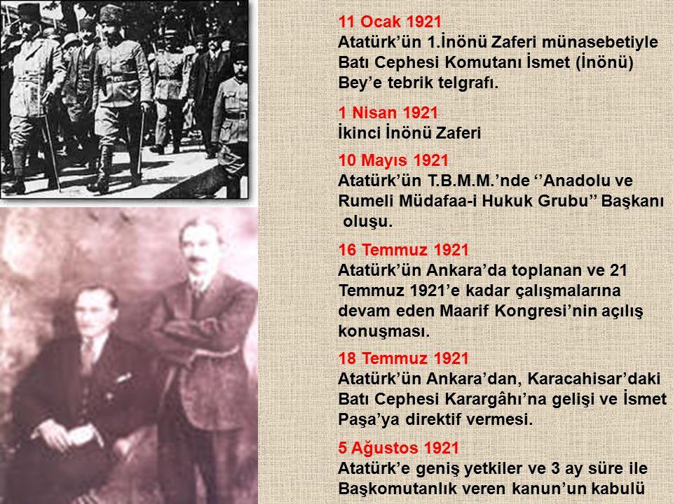 11 Ocak 1921 Atatürk'ün 1.İnönü Zaferi münasebetiyle. Batı Cephesi Komutanı İsmet (İnönü) Bey'e tebrik telgrafı.
