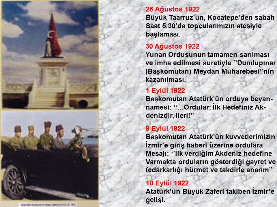 26 Ağustos 1922 Büyük Taarruz'un, Kocatepe'den sabah. Saat 5.30'da topçularımızın ateşiyle. başlaması.