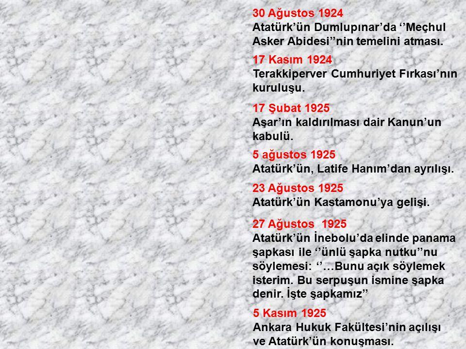 30 Ağustos 1924 Atatürk'ün Dumlupınar'da ''Meçhul. Asker Abidesi''nin temelini atması. 17 Kasım 1924.