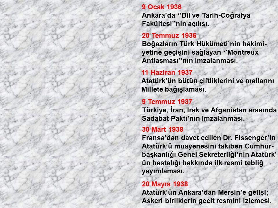 9 Ocak 1936 Ankara'da ''Dil ve Tarih-Coğrafya. Fakültesi''nin açılışı. 20 Temmuz 1936. Boğazların Türk Hükümeti'nin hâkimi-