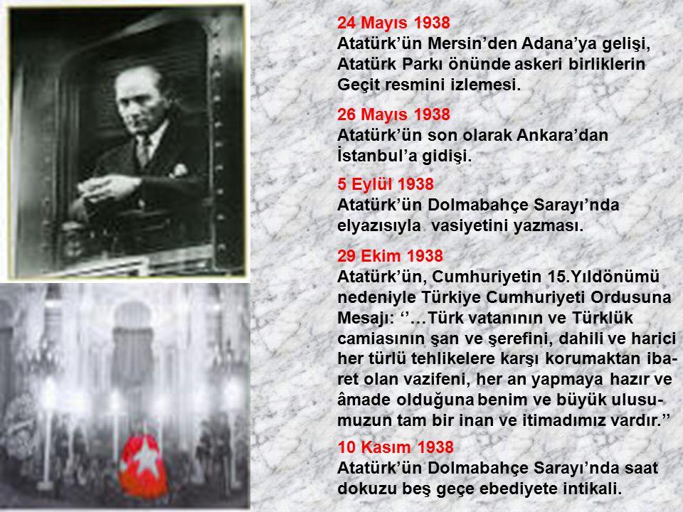 24 Mayıs 1938 Atatürk'ün Mersin'den Adana'ya gelişi, Atatürk Parkı önünde askeri birliklerin. Geçit resmini izlemesi.