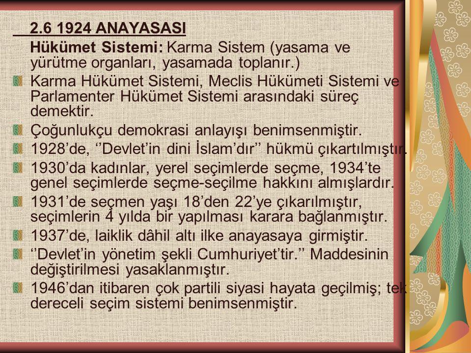 2.6 1924 ANAYASASI Hükümet Sistemi: Karma Sistem (yasama ve yürütme organları, yasamada toplanır.)