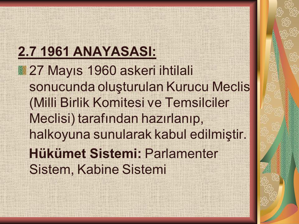 2.7 1961 ANAYASASI: