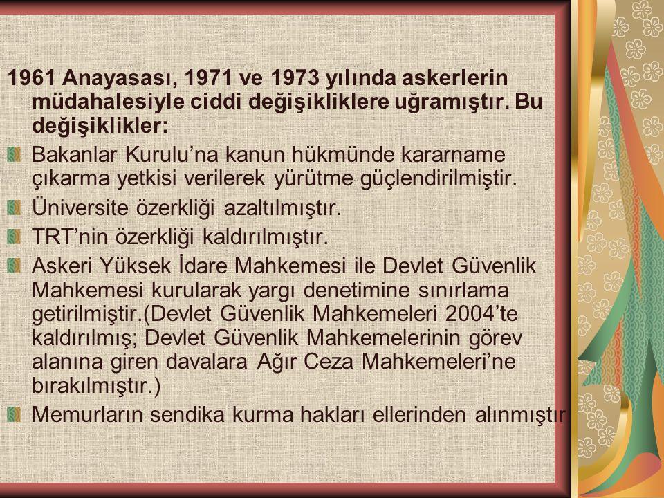 1961 Anayasası, 1971 ve 1973 yılında askerlerin müdahalesiyle ciddi değişikliklere uğramıştır. Bu değişiklikler: