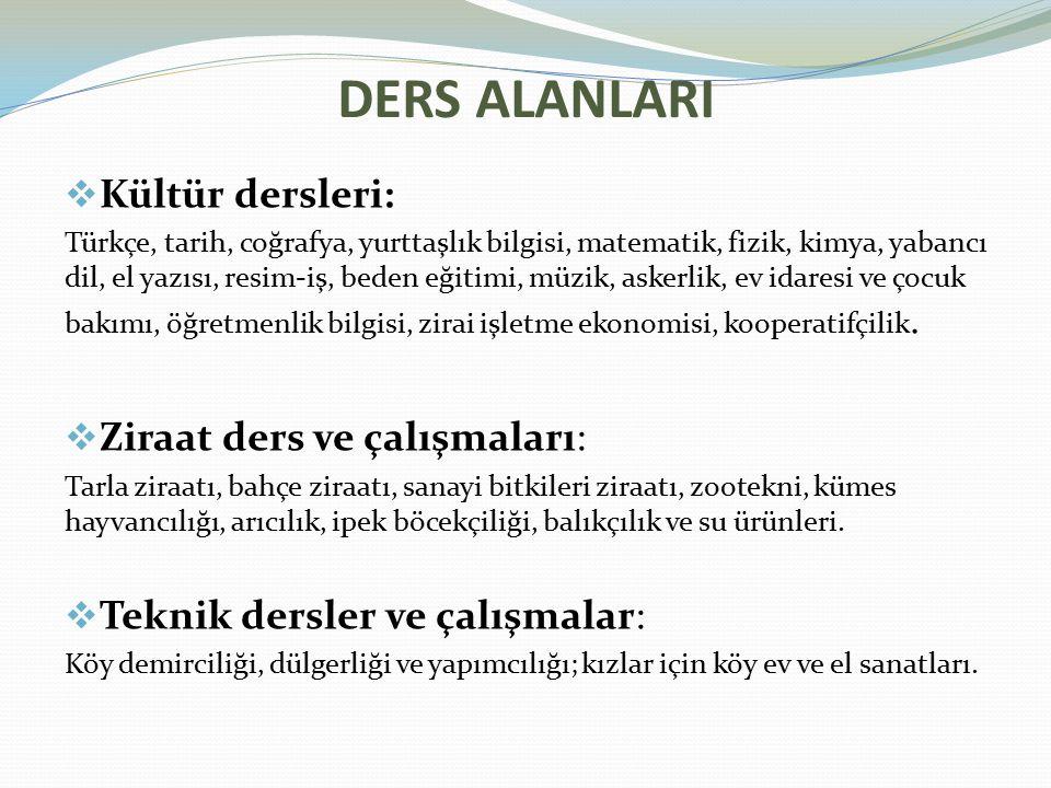 DERS ALANLARI Kültür dersleri: Ziraat ders ve çalışmaları: