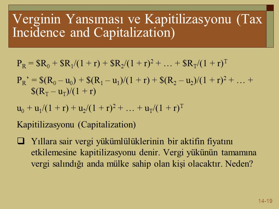 Verginin Yansıması ve Kapitilizasyonu (Tax Incidence and Capitalization)