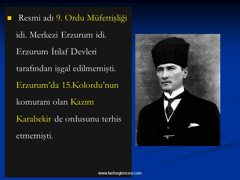 Resmi adı 9. Ordu Müfettişliği idi. Merkezi Erzurum idi