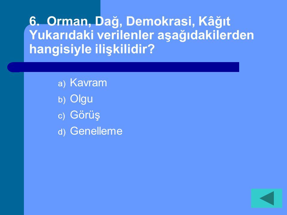 6. Orman, Dağ, Demokrasi, Kâğıt Yukarıdaki verilenler aşağıdakilerden hangisiyle ilişkilidir
