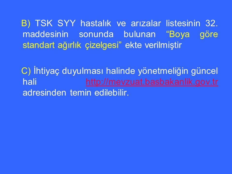 B) TSK SYY hastalık ve arızalar listesinin 32